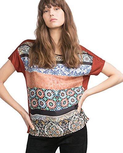 SaiDeng Donna Stampato A Maniche Corte Girocollo Pullover Maglietta Come Immagine L
