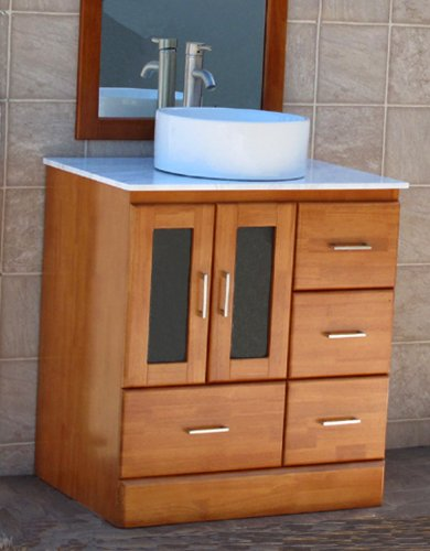 "30"" Bathroom Vanity Cabinet Ceramic Top Sink Faucet M11/CV26-Cinnamon finish"
