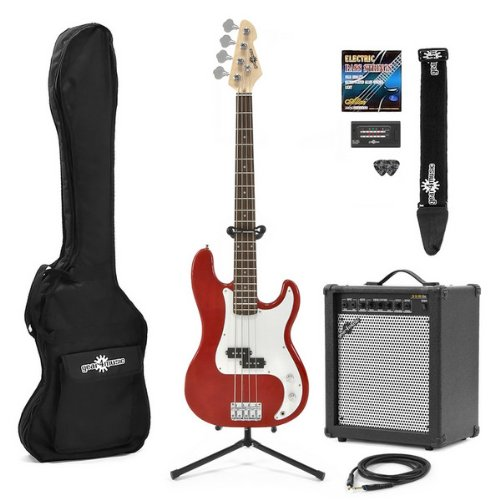 Electric G-4 Bass Guitar + 35W Amp Pack Red