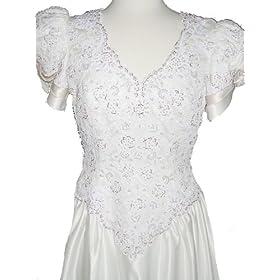 New Ivory Satin with Champagne Trim by Mon Cheri Wedding Dress Bridal Gown, Size 12-14, FL33