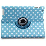 Apple iPad Mini Blue 360 Rotation Polka Dots Leather Flip Case Stand Cover