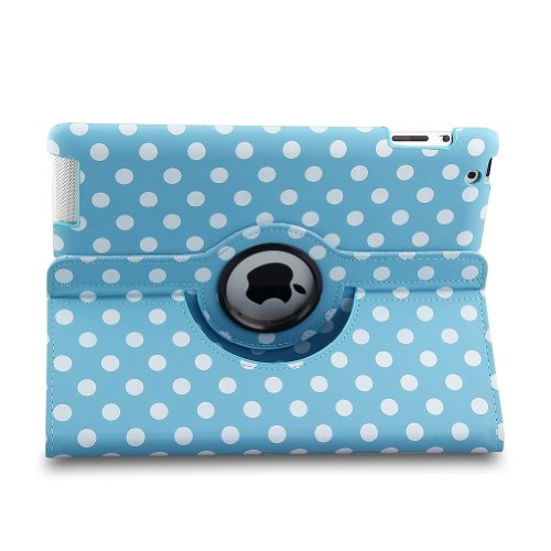 Auto Sleep/Wake Function 360 Degree Rotating Smart Case Cover For 7.9 Inch Apple Ipad Mini/Ipad Mini 2 With Retina With A Stylus As A Gift--Polka Dot Pattern,Blue