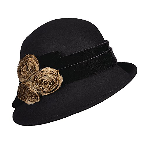 callanan-cloche-with-velvet-band-and-chiffon-flowers-black