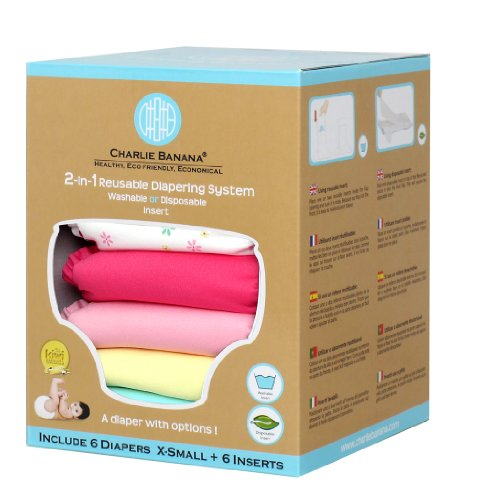 Charlie Banana® 2-In-1 Newborn Diapers - 6 Pack - Butterfly