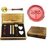 MNYR Vintage Dragonfly Sealing Wax Seal Stamp Kit Melting Spoon Wax Stick Candle Wooden Book Gift Box Set Wedding Invitation Embellishment Holiday Card Gift Wrap Package Gift Idea Seal Stamp Set