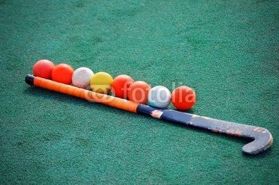 "Wallmonkeys Peel and Stick Wall Decals - Field Hockey Stick with Many Balls - 24""W x 16""H Removable Graphic"