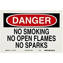 Brady Black And Red On White Color No Smoking Sign, Legend &#034;Danger, No Smoking No Open Flames No Sparks&#034;