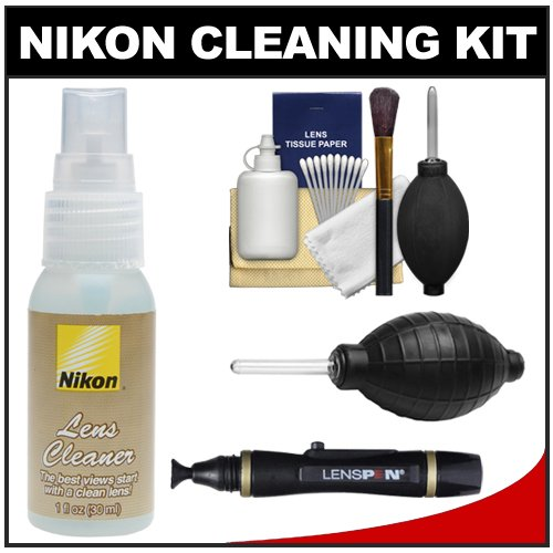 Nikon Lens Cleaner Fluid Spray Bottle (1Oz/30Ml) With Blower + Lenspen + Cleaning Kit For D3100, D3200, D5100, D5200, D600, D800, D4 Digital Slr Cameras
