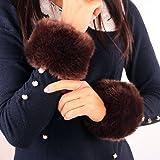LOCOMO Faux Rabbit Fur Hair Soft Wrist Band Ring Cuff Warmer FAF031BLK Black