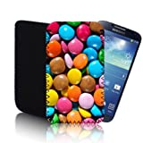 Biz-E-Bee Exclusive 'Chocolate Smarties Sweets' SAMSUNG GALAXY S4 / SIV (GT-I9500) (L) Quality Rubber Shock and Water Resistant Mobile Phone Pouch Case Cover Protection