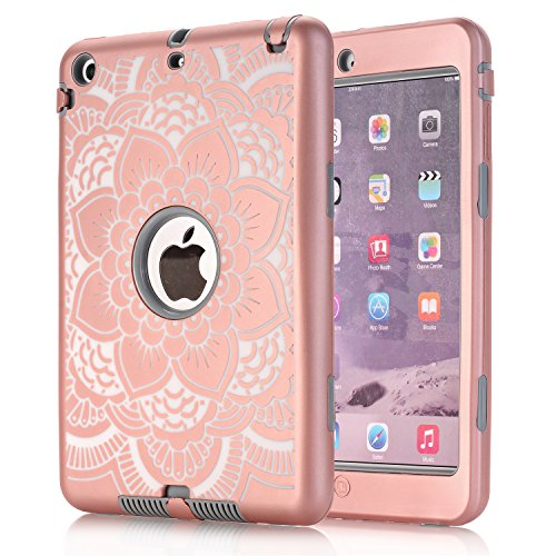iPad Mini Case,3in1 Shockproof Hybrid Case Hard Cover Pc+Silicone Full Body Protective High Impact Defender Cover For iPad Mini/ iPad Mini 2/ iPad Mini 3(Rose Golden / Grey) (3in1 Contact Case compare prices)