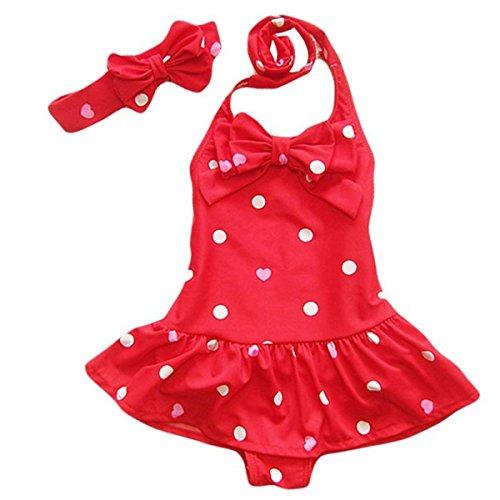 Jastore® Baby Girls Swimwear One Piece Swimsuits Beach Wear with Headband (12-24 Months, Red)