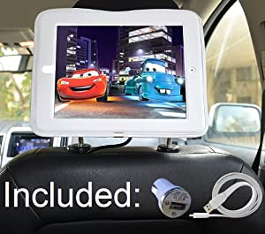 iPad Car Mount Headrest Mount Holder for Apple iPad 4 / New iPad 3 / iPad 2 / Including Car Charger & Long Cable