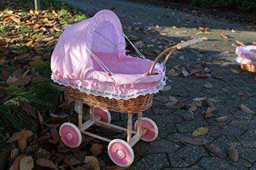 Puppenwagen aus Weide fein Rosa kariert und Holzgriff...extra