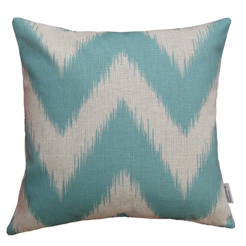 "Euphoria Contempo Home Decorative Throw Pillow Cushion Cover Pillowcase Shell Cotton Linen Blend Fantasy Zigzag Wave Lines Cyan Color 18"" X 18"" front-707863"