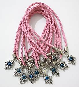 """Lot of 10 - """"Lucky"""" HAMSA Kabbalah Bracelets with PINK Braided String and Rotating Evil Eye Hamsa Hand - Jewish Judaica Amulet Pendant Jewelry for """"Success and Protection"""""""