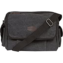 Vintage Retro Canvas Messenger Bag For Men & Women by Alen Lee - Work & Business Laptop Shoulder Crossbody Satchel Bag - Multi-Pocket Book Bag - Available In Coffee & Black Canvas (Black)