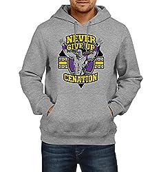 Fanideaz Men's Cotton Never Give Up Cenation WWE Hoodies For Men (Premium Sweatshirt)_Grey Melange_L