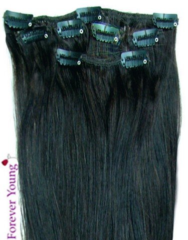 Forever Young Jet Black #1 Clip In Human Hair Extension Half Head Set - 16