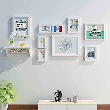 Marco de fotos HJKY pared conjunto Polymer simplicidad moderna pared de fotos creativas para la sala de estar, dormitorio, comedor, blanco