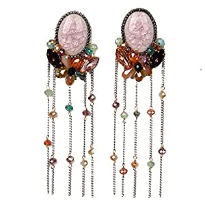 Girl Era Excellent Round Pink Crystal Long Metal Tassel Pendant Earrings