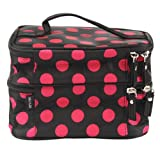 Icon Unique Dots Pattern Double Layer Cosmetic Bag Black