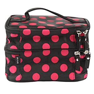 Click Here For Cheap Unique Dots Pattern Double Layer Cosmetic Bag Black For Sale