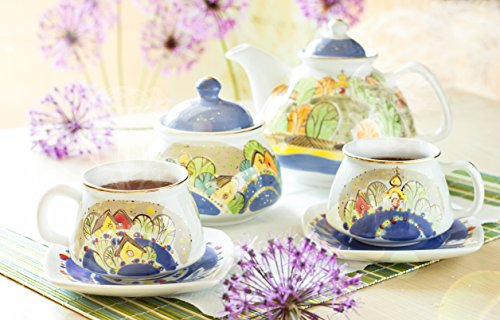 "Embossed Hand-Painted Tea Set ""Village And The River"" (33.8Oz/13.5Oz/6.2Oz)""The House Of Love"" St Elisabeth Convent"