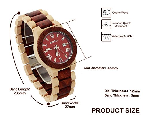 Ideashop Men's White and Red Wood Watches Quartz Retro Antique Wood Wristwatch with Date Function Unique Gift 5