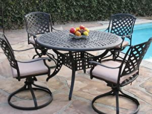 Good Thank you for your interest in purchasing Kawaii Collection Cast Aluminum Outdoor Patio Furniture Piece Dining Set With Swivel Rockers MLVT CBM