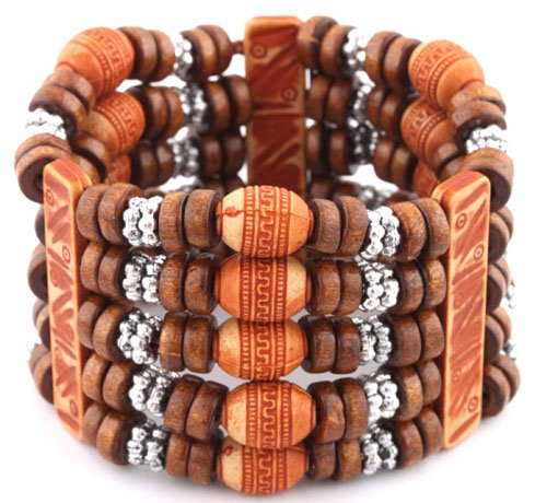 Ladies Brown 5 Row Spacers & Bars Style Wooden Beaded Stretch Bracelet