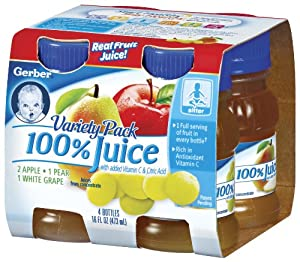 Gerber Variety Pack Fruit Juice (2-Apple, 1-Pear, 1-White Grape), 4 Count, 4-Ounce Platic Bottles (Pack of 6)