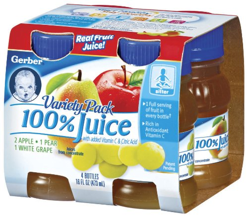 Gerber Variety Pack Fruit Juice (2-Apple, 1-Pear, 1-White Grape), 4 Count, 4-Ounce Platic Bottles (Pack of 6) (Baby Apple Juice compare prices)