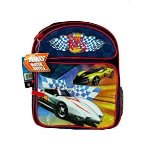 Speed Racer School Backpack - Kid size School Bag With Bottle