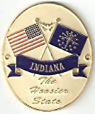 Indiana & United States of America Flags - Hiking Stick Medallion - The Hoosier State