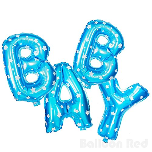 16 Inch Foil Mylar Balloons Bouquet for Wall Decoration (Premium Quality, Air-Fill Only), Blue Stars, Letters BABY