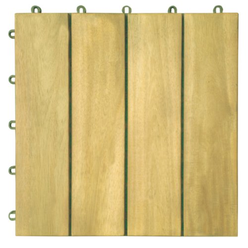 VIFAH V488 Interlocking Acacia Plantation Hardwood Deck Tile 4-Slat Style, 10-Pack, Teak Finish, 12 by 12 by 1-Inch