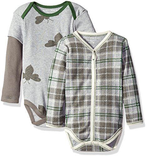 Burt's Bees Baby Boys' 2 Pack Plaid and Organic Bodysuits, Heather Grey, 18 Months