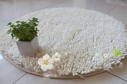 DIAIDI Round Area Rug Fiber 100% Cotton Chenille Shaggy Bath Rug Carpet Sitting Room Tea Table Window Bedroom Carpet Floor Mats For Home Yoga Couch Kids Diameter 47.2\