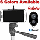 Cell Phone Tripod Adapter - Bluetooth Remote Control - Travel Bag - iPhone Tripod Mount 6S 6 Plus 5S 5C 5 4s 4, Galaxy S6 S5 S4 S3 S2 more Cell Phone Tripod Mount Clip Holder - DaVoice (Black)