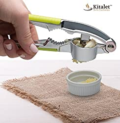 Premium Garlic Press & Peeler Set By Kitalet (Tm) Mince & Chop Garlic Cloves & Ginger, Includes A Cleaning Brush Bonus Nut Cracker
