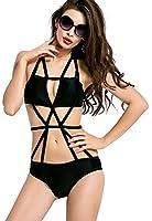 Ebuddy Women Black White Strips One Piece Bikini Swimsuit Swimwear