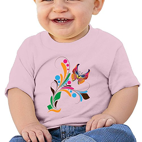 Bro-Custom Butterfly Flower Design Toddler Fashion Tee Pink Size 12 Months
