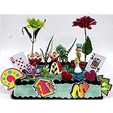 Alice in Wonderland Birthday Cake Topper Set Featuring 5 Alice in Wonderland Figures and Decorative Themed Accessories