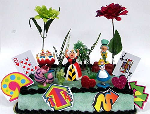 Alice in Wonderland Birthday Cake Topper Set Featuring 5 Alice in Wonderland Figures and Decorative Themed Accessories (Charlie Brown Cake Pan compare prices)