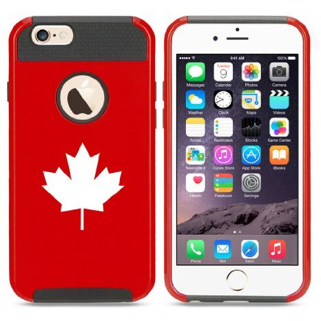 Apple iPhone 6 6s Hybrid Shockproof Impact Hard Cover / Soft Silicone Rubber Inside Case Maple Leaf Canada (Red) (Canada I Phone 6 Cover compare prices)