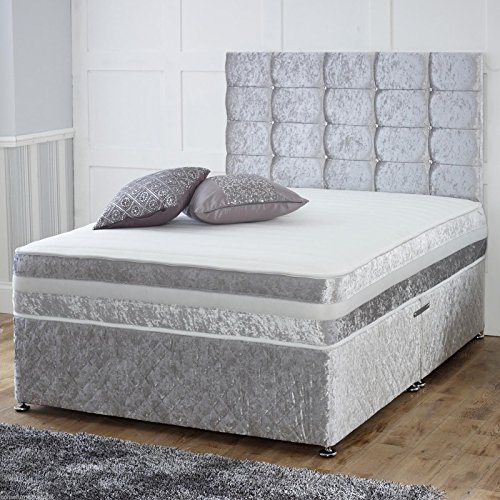 Elegant Hfyou Cube Crushed Velvet Pocket Memory Divan Bed Set