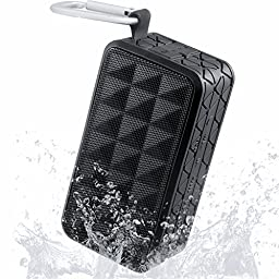 Outdoor Sports Bluetooth Speakers, KINGSTAR Portable Square Waterproof Wireless Ultra Stereo 4.0 Rechargeable Shower Speaker with Hands-free Phone Call Carabiner Hook for Climbing Cycling