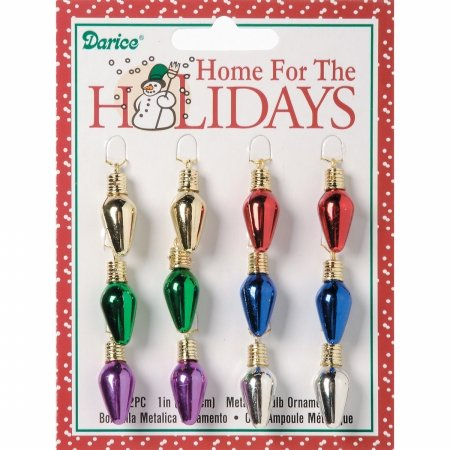 Darice 2463-54 Plastic Metallic Christmas Bulbs 1 12/Pkg-Multicolor