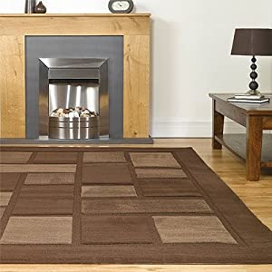 Visiona Soft 4304 Brown Rug Styled Textured Blocks Modern Design in Polypropylene 200cm x 290cm from Abbey-Carpets